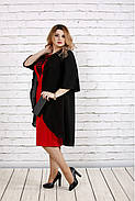 Женское платье с кружевом больших размеров 0747 цвет алый / размер 42-74 , фото 2