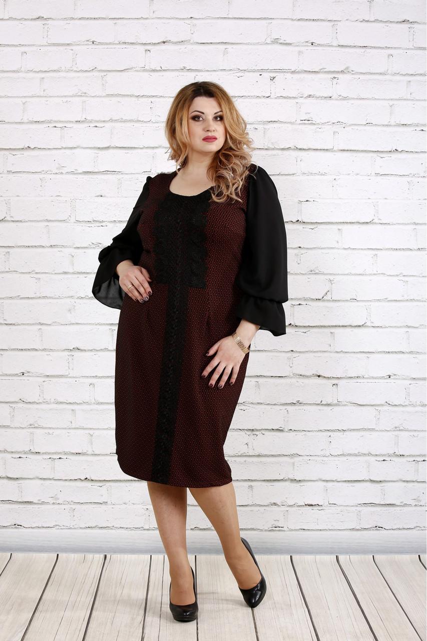 Женское платье с пышными рукавами 0746 цвет терракот / размер 42-74 / батал