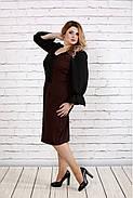 Женское платье с пышными рукавами 0746 цвет терракот / размер 42-74 / батал  , фото 2