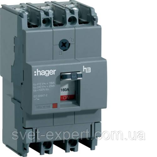 Автоматичний вимикач Hager x160 HHA160H, In=160А, 3п, 25kA, Трег./Мфікс.