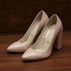 80161| Женские туфли на каблуке. Розовые из кожи с заостренным носком