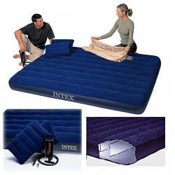 Надувний матрац Intex 64765, синій, Двоспальний з двома подушками і насосом 203 х 152 х 25 см
