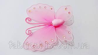 Бабочка со стразами  (на булавке)  розовая