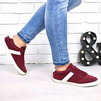 Женские кроссовки замшевые бордовые, фото 1