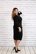 Женское платье с пышными рукавами 0746 цвет темно зеленый / размер 42-74 / батал  , фото 3