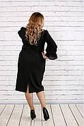 Женское платье с пышными рукавами 0746 цвет темно зеленый / размер 42-74 / батал  , фото 4