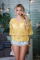 СТИЛЬНАЯ Женская блуза с макрамэ код 890-желтый