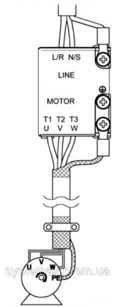 Схема подключения питания и двигателя частотного преобразователя ABB ASC55-01E-01A4-2
