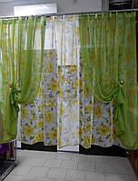 К-т занавесок Классик цвет жёлтый с зеленым