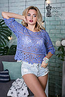 СТИЛЬНАЯ Женская блуза с макрамэ код 890-джинс
