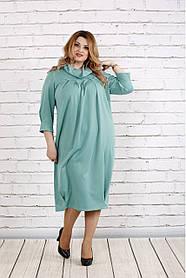 Женское платье скрывающее недостатки 0744 цвет шалфей / размер 42-74