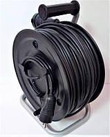 Электрический удлинитель на катушке без з/к с выносной розеткой  80м (ПВС 2*1,5)ТМ ФЕНИКС