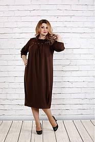 Женское платье скрывающее недостатки 0744 цвет шоколад / размер 42-74