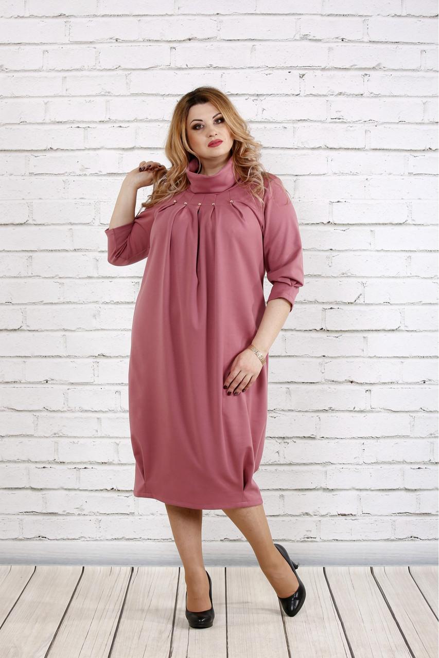 Женское платье скрывающее недостатки 0744 цвет фрез / размер 42-74