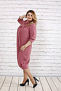 Женское платье скрывающее недостатки 0744 цвет фрез / размер 42-74 , фото 2