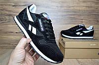 Мужские кроссовки Reebok Classic замша + сетка, цвет - черный + белые полоски