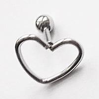 """Микроштанга  6 мм """"Сердце"""" для пирсинга ушей. Медицинская сталь., фото 1"""