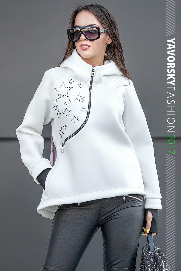 Белая куртка - анорак с капюшоном размер 42-48