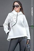 Белая куртка - анорак с капюшоном размер 42-48, фото 1