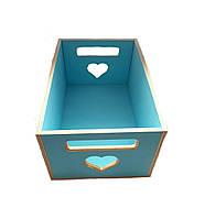 Ящик Голубой деревянный для декора под цветы из дерева  22.5x14.5 см, фото 1