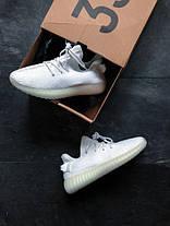 Кроссовки женские Adidas Yeezy Boost 350 V2 белые топ реплика, фото 3