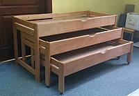 Кровать детская 3-х ярусная раздвижная деревянная(1616*658*995)