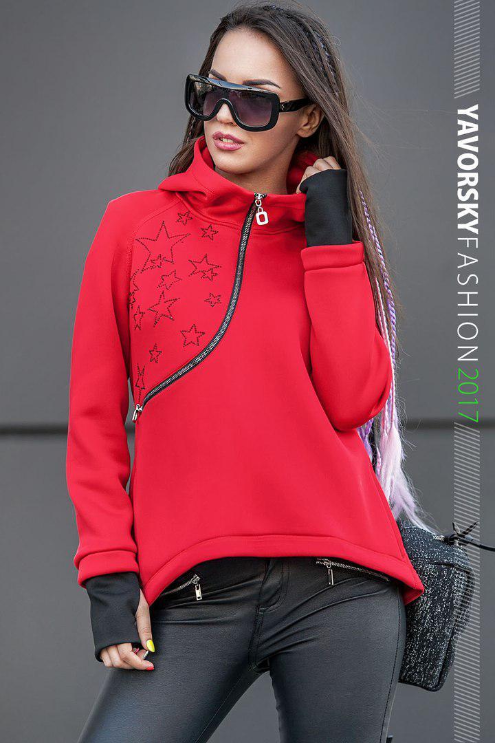 Красная куртка - анорак с капюшоном размер 42-48