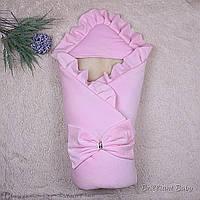 Зимний конверт для новорожденных Мария велюр розовый