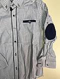 Рубашка на кнопках, заплатки на локтях для мальчиков 6-14 лет, фото 2