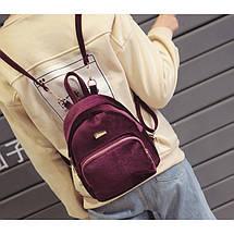 Рюкзак женский велюровый Adel бордовый, фото 2