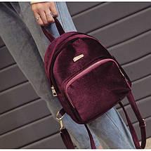 Рюкзак женский велюровый Adel бордовый, фото 3