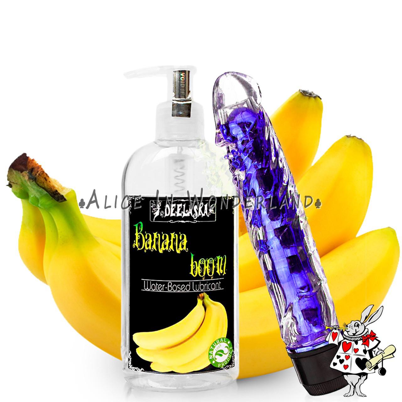 Анальный вибратор синего цвета + лубрикант универсальный с ароматом банана 200 мл