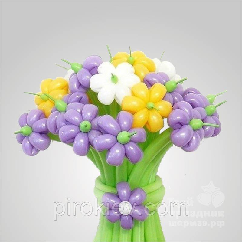 Цветы из шаров шестилепестковые ромашки