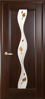 Дверное полотно Волна  со стеклом сатин и рисунком