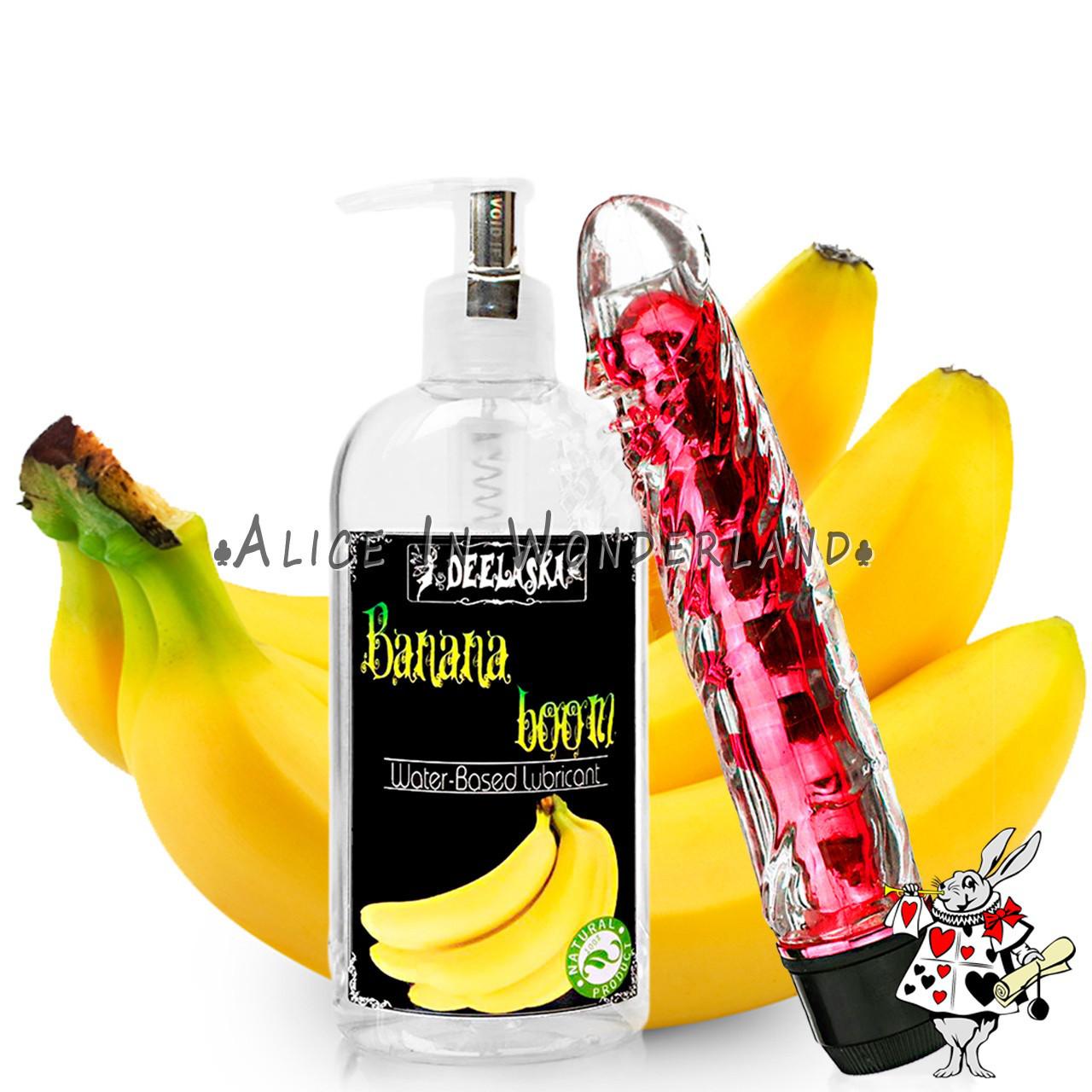 Мультискоростой вибратор красного цвета + интимный гель с ароматом банана 200 мл
