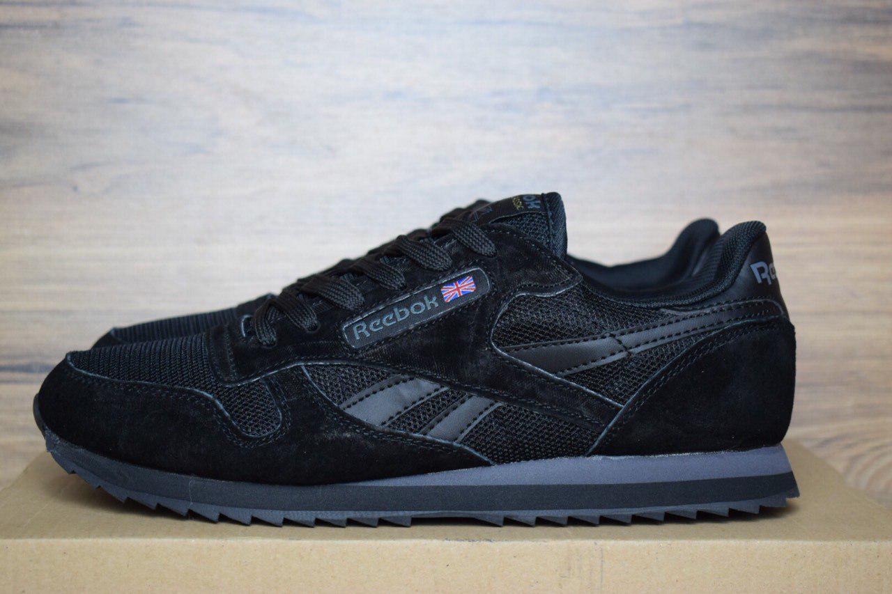 60d578c0 Мужские кроссовки Reebok Classic замша + сетка, цвет - черный