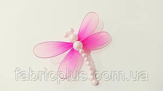 Стрекоза с бусинками (на булавке) розовая