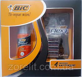 Набор станок для бритья BIC flex3 Hybrid + гель