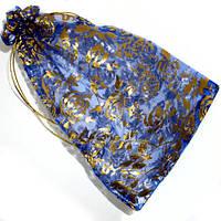 (10шт) Мешочек 23х16см из органзы с рисунком  Цена за 10 шт. Цвет - синий узор - розочки