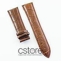 Для часов универсальный кожаный ремешок под клипсу brown 20мм, 22мм, 24мм (07181)