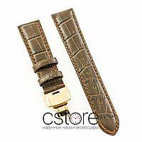 Универсальный кожаный ремешок для часов 21 мм с застежкой 18 мм brown gold (07243)