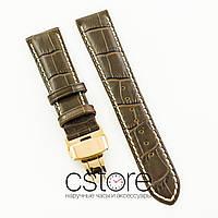 Универсальный кожаный ремешок для часов 21 мм с застежкой 18 мм brown gold (07239)