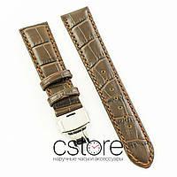 Универсальный кожаный ремешок для часов 21 мм с застежкой 18 мм brown silver (07241)