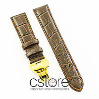 Универсальный кожаный ремешок для часов 21 мм с застежкой 18 мм brown lemon gold (07242)
