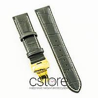 Универсальный кожаный ремешок для часов 21 мм с застежкой 18 мм black lemon gold (07246)