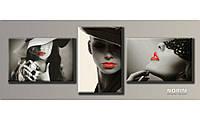 """Модульная картина на холсте """"Стильные дамы"""" (HAT-129)"""