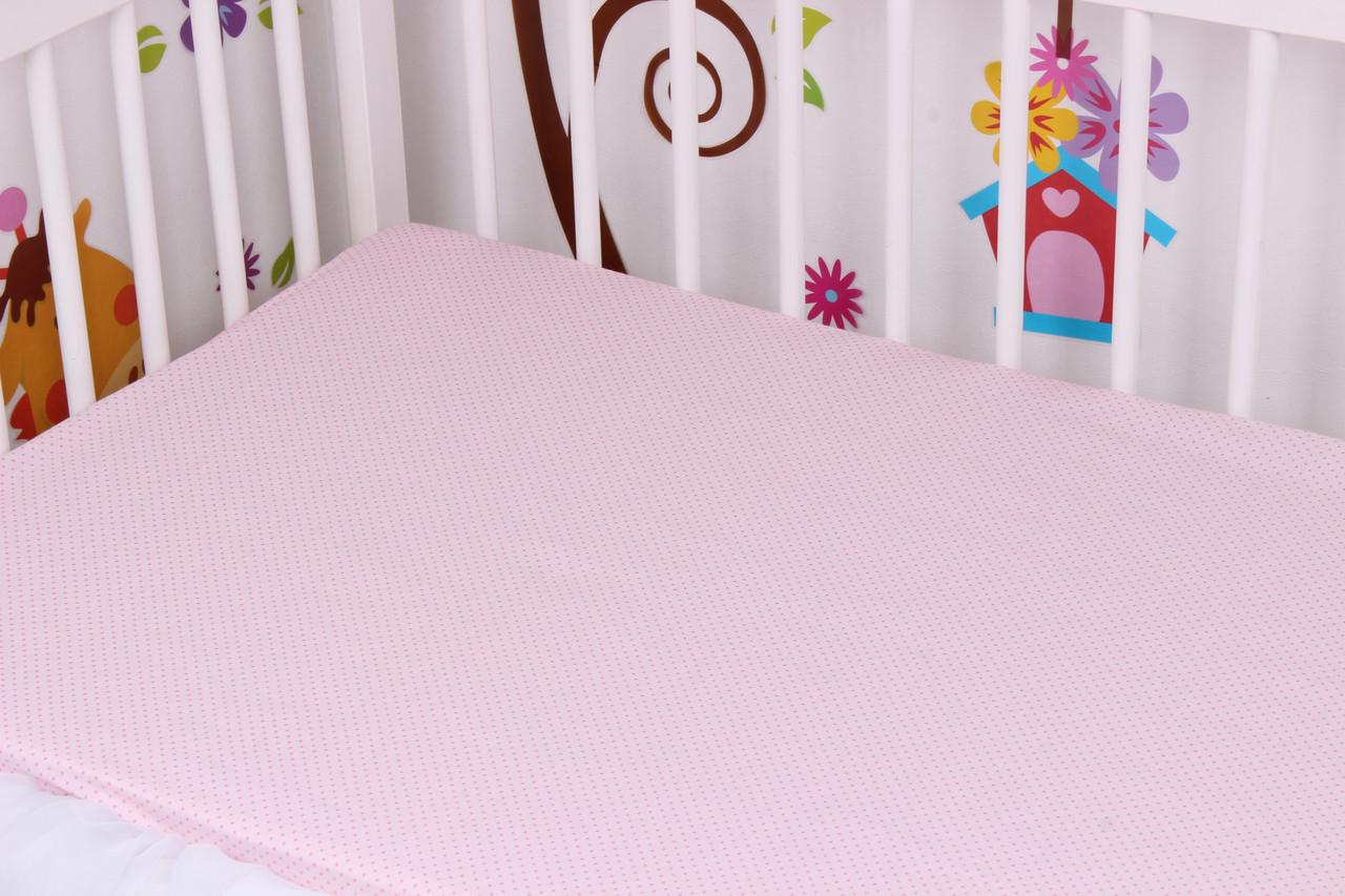 Простынь на резинке розовая
