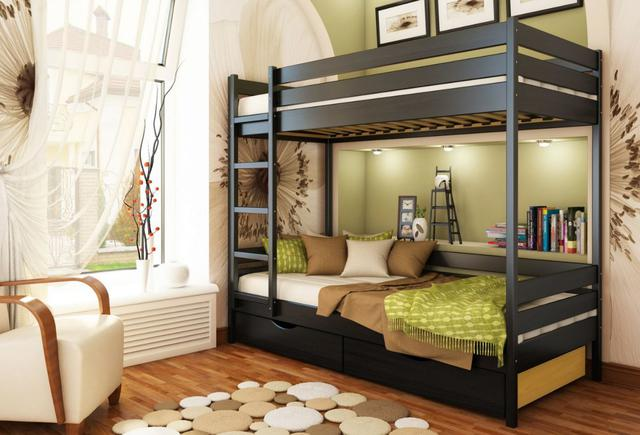 Кровать двухъярусная Дуэт тм Эстелла цвет №106 Венге (Бук Массив) фасад+ящики ДСП