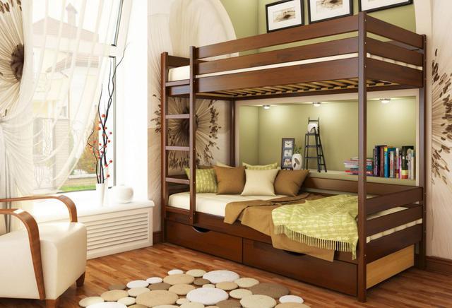 Кровать двухъярусная Дуэт тм Эстелла цвет №108 Каштан (Бук Щит) ящики ДСП