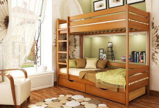 Кровать двухъярусная Дуэт тм Эстелла цвет №105 Ольха (Бук Щит) ящики ДСП